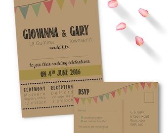 SAMPLE Kraft bunting wedding invitation with RSVP, free shipping