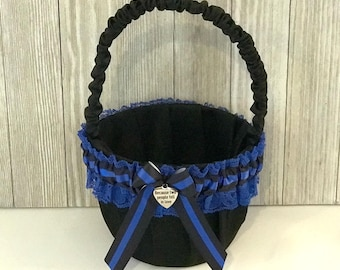 Police Wedding Flower Girl Basket - Wedding Flower Girl Basket -  Blue Line Police Wedding - Police Wedding Gift - Something Blue.