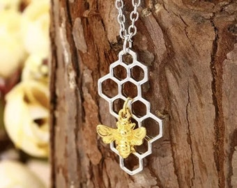 Gold Bumblebee and Silver Honeycomb Necklace, Hexagon Necklace,Honeycomb Pendant ,Bee Jewelry