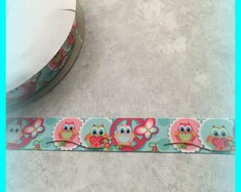 "Cute Peace Owls 7/8"" inch Grosgrain ribbon"