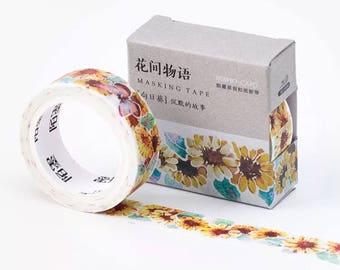 Sunflowr Washi Tape , deco tape  - 15mm x 7m