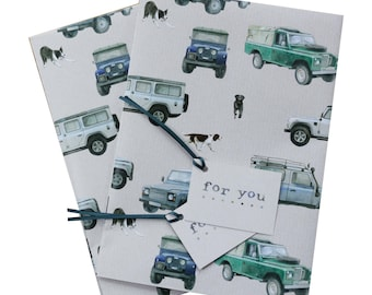 Land Rover Defender gift wrapping, 2 sheets with matching gift tags