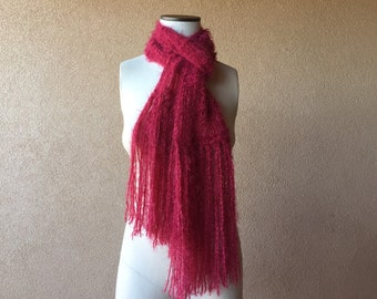 Long Red Scarf Red Long Scarf with Fringe Hand Knit Accessories Dark Red Scarf