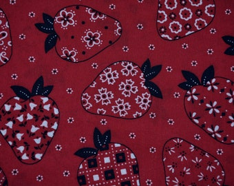 Novelty fabric Vintage mod strawberry red bandanna fabric by the yard 70s hippie farmer country hankie summer hats aprons cotton fabric