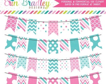 80% OFF SALE Bunting Clipart Pink & Blue Banner Flags Commercial Use Clip Art Graphics with Polka Dots Chevron and Striped Patterns