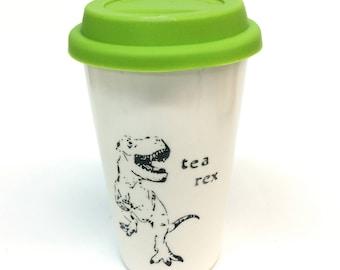 Tea Rex Punny Dinosaur T-Rex ceramic travel mug dino pun