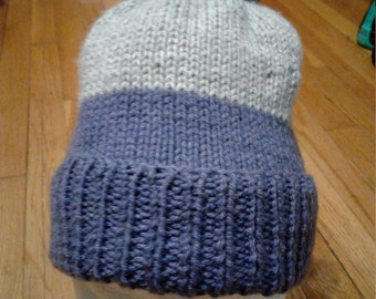 Hand Knitted heather gray and light gray Hat with pompom, fits age 6 to Adult