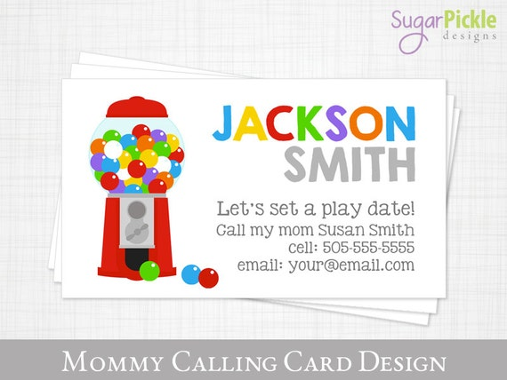 Mommy calling card play date card gumball kids calling card like this item colourmoves Gallery