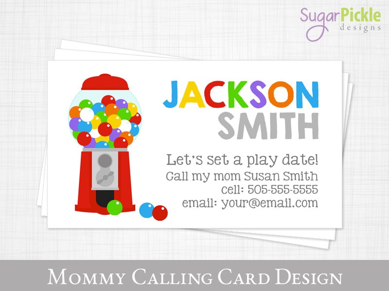 Mommy Calling Card Play Date Card Gumball Kids Calling Card