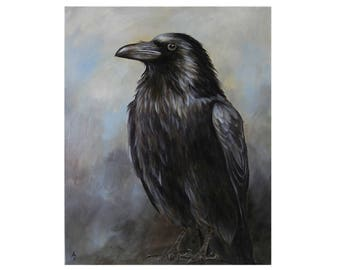 Stately Raven painting - corvidae art - black bird canvas artwork - quoth the raven nevermore - realistic crow painting - corvid painting