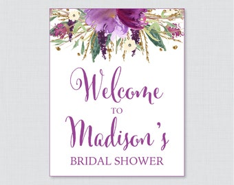 Purple Floral Bridal Shower Welcome Sign Printable - Garden Party Bridal Shower Customizable Sign - Purple & Gold Bridal Shower Decor 0008