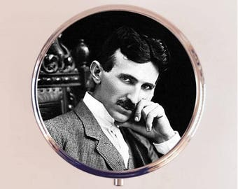Nikola Tesla Pill Box Case Pillbox Holder Trinket Stash Box Inventor Science Portrait