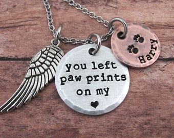 Dog Memorial Necklace You Left Paw Prints On My Heart Personalized Dog Remembrance Jewelry Pet Loss Dog Lover Loss Of Dog Sympathy Gift