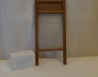 Small Glass Washboard, Vintage Primitive, Lingerie Size, Crystal brand