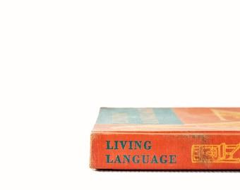 Vintage Schoolbook | Living Language | Antique Book | Vintage Textbook | Old School Books