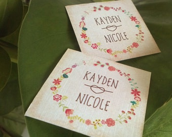 Vintage Floral Tag. Personalized messages and colours. Set of 50.
