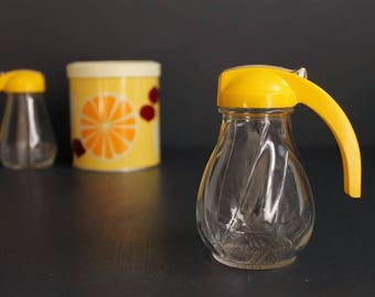 Vintage Syrup Pitcher Glass Container with Bright Yellow Lid and Handle by Hazel Atlas Federal Tool Corp
