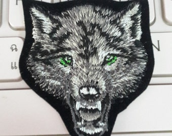 Wolf Iron on patch - Wolf Face Applique Embroidered Iron on Patch