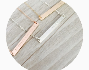 Skinny Bar Necklace | Narrow Name Bar Necklace | Nameplate Necklace | Thin Bar Necklace | Initial Bar Necklace | Bridesmaid Necklace