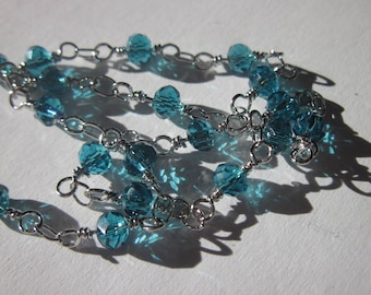 0.20 m silver plated chain with glass beads blue (U1)