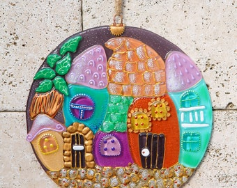 Fused Glass Fairy Town Panel; Home Decor; Wall Hanging; Hand painted; Handmade