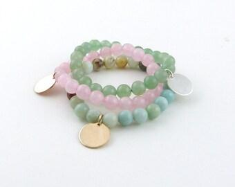 Custom Bead Bracelet, Rose Quartz Bead Bracelet, Monogram Bracelet, Bridesmaid gift, Graduation Gift, Stacking Bracelet, Rose gold Disc