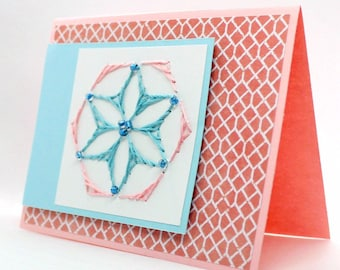 Embroidered Greeting Card with Beads - Serenity - Landscape