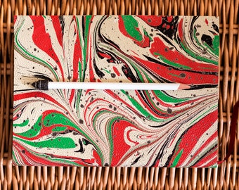 "008 Leather Notebook Marbled (red and green)-6 colors of LGBT pride flag-LARGE size 6"" x 8"" (148mm x 210mm) 192  pages"