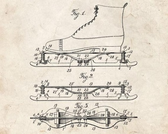 CLEARANCE - Ice Skate Patent Print - 11x14 Old Look
