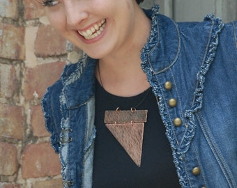 Statement Jewelry Large Necklace Contemporary Necklace Architectural Funky Edgy Copper Statement Jewelry