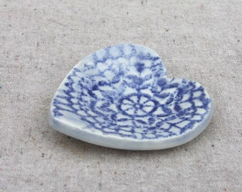 Heart Dish Wedding Favor or Wedding Party Gift in Stoneware with Blue Glaze