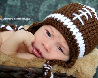 Infant Boys Crochet Football Hat - Newborn Football Hat - Baby Football Hat - Newborn Boy hat - Newborn hat - Knit Football hat