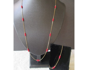 Long Chain Necklace And Matching Bracelet * Red Beads * Dainty Necklace * Gift For Her