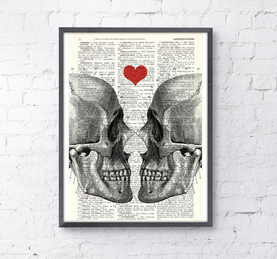 Wall art Skull book print -Death means nothing to us - Love Dictionary Book Page Prin gift husband, love wall art SKA001
