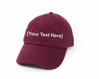 Custom Dad Hat, Custom Baseball Caps, Dad Hat Custom, Embroidered Baseball Cap, Adjustable Strap Back Baseball Cap, Low Profile, Maroon
