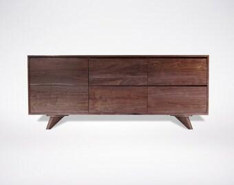 Modern Walnut dresser Solid Wood Handmade Organic Finish Contemporary mid century modern design Hairpin Legs
