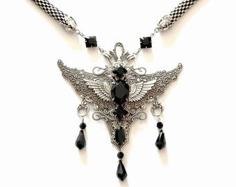 Silver Gothic Necklace  Pendant Gothic Jewelry Black Swarovski Necklace Angel Wings Pendant Gothic Wings Necklace Statement Necklace