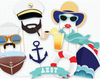 Nautical Photo Booth, Photo Booth Props, Cruise Photobooth, Photobooth Props, Ahoy I'm on a Boat, Anchors Away, Sailor Theme, Boat Birthday