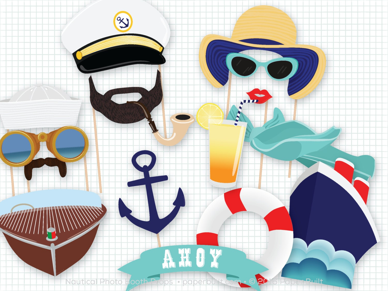 Nautical Photo Booth Photo Booth Props Cruise Photobooth