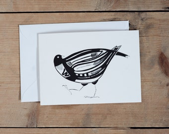 Black and white bird illustration card - All occasions  - Thank you card