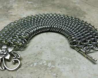 Dragonscale weave chainmail cuff bracelet