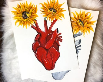 Human heart & Sunflowers Original Acrylic Painting / Sunflowers grow from within my Heart / Customizable