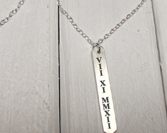 Roman Numeral Necklace - Vertical Bar -Mark The Date- Engraved Sterling Silver - Perfect For Layering - Jewelry Gifts For Her - Personalized