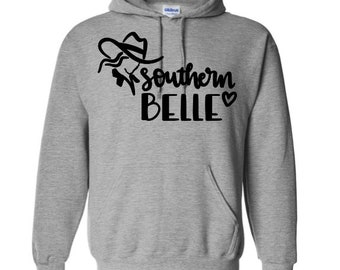 Southern Belle Country Girl Cowgirl Funny Unisex Pullover Hoodie Sweatshirt Many Sizes S-5X Colors Gift Jenuine Crafts