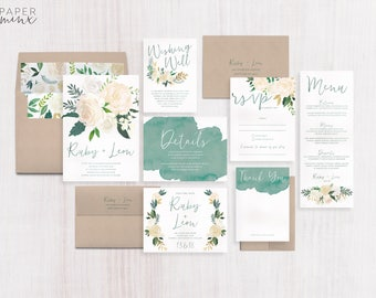 Wedding Invitation | Floral Wedding Invitation Suite | Floral Greenery Invitation | Eucalyptus Invitation | Printed Wedding Suite | Ruby