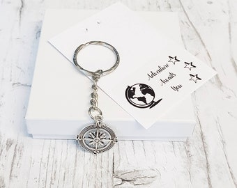 Compass Keyring, Compass Keychain, Travel Keyring, Travellers Gift, Graduation Gift, Nautical Gift