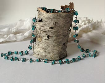 "16"" Turquoise Colored Nugget and Silver Bead Necklace / Mothers Day"