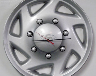 Ford Van Hubcap Clock - 1996 - 2009 Ford Econoline Van Wall Clock - Recycled Clock - Gifts for Guys