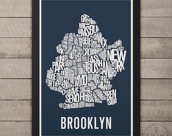 BROOKLYN NYC Neighborhood Typography Map Print