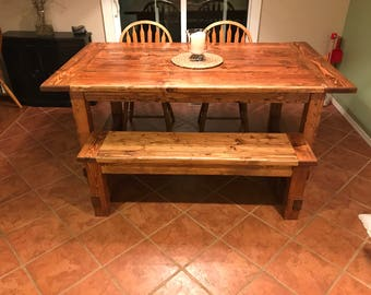Farm style table and benches